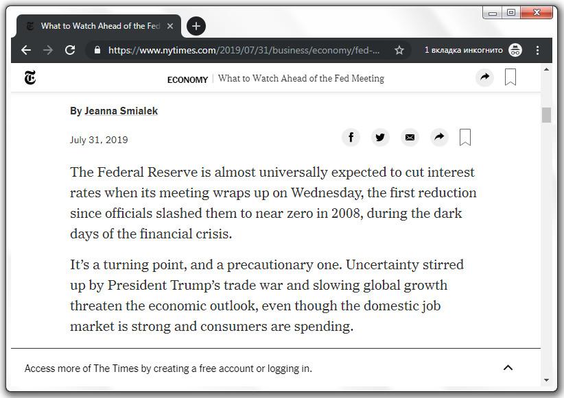 Браузер Google Chrome 76 для десктопа на сайте New York Times